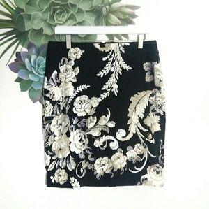 White House Black Market Black Floral Pencil Skirt